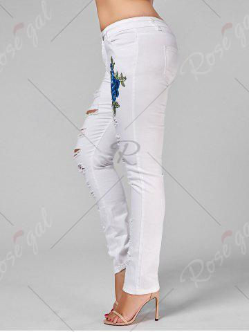 Fancy Plus Size Ripped Embroidered Skinny Jeans - 2XL WHITE Mobile