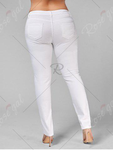 Fashion Plus Size Ripped Embroidered Skinny Jeans - 2XL WHITE Mobile