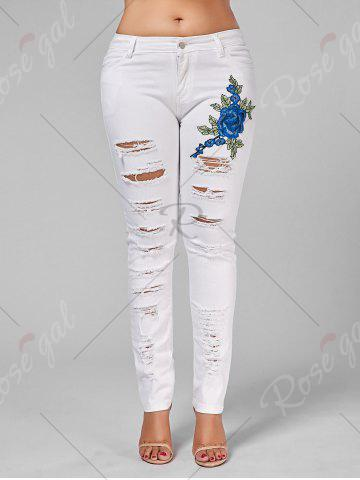 Affordable Plus Size Ripped Embroidered Skinny Jeans - 2XL WHITE Mobile