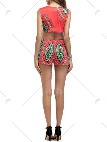 Chic Ethnic Printed Crop Top With High Waisted Shorts - 2XL ORANGE RED Mobile