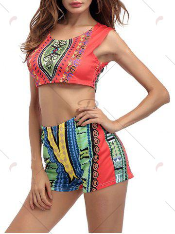 Chic Ethnic Printed Crop Top With High Waisted Shorts - XL ORANGE RED Mobile