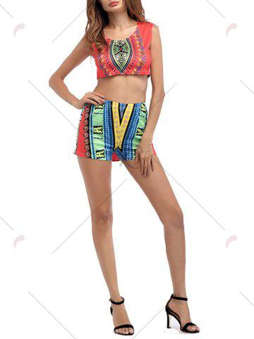 Shops Ethnic Printed Crop Top With High Waisted Shorts - M ORANGE RED Mobile