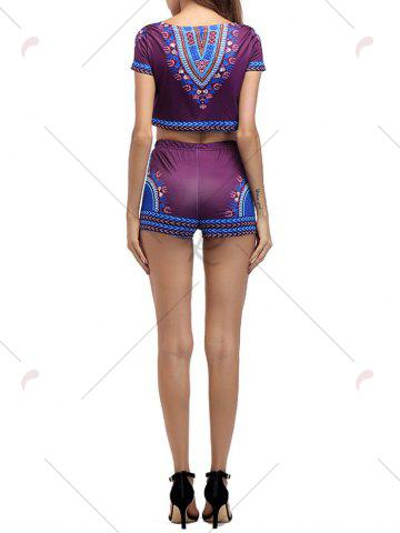 New Ethnic Printed Crop Top With High Waisted Shorts - M PURPLISH RED Mobile