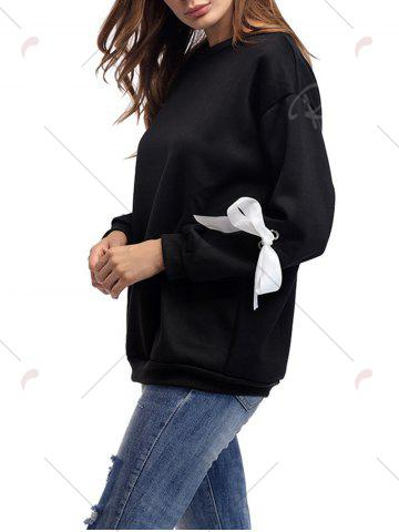 Outfit Crew Neck Bowknot Sweatshirt - ONE SIZE BLACK Mobile