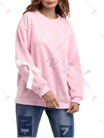 Affordable Crew Neck Bowknot Sweatshirt - ONE SIZE PINK Mobile