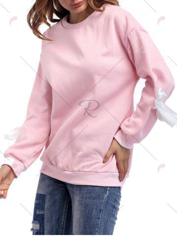 Fancy Crew Neck Bowknot Sweatshirt - ONE SIZE PINK Mobile
