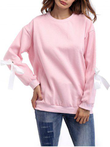 Discount Crew Neck Bowknot Sweatshirt - ONE SIZE PINK Mobile