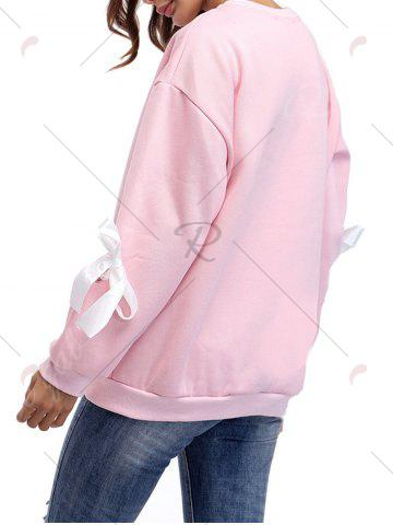 Fashion Crew Neck Bowknot Sweatshirt - ONE SIZE PINK Mobile