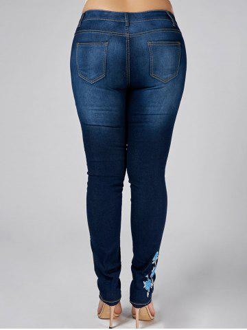 Hot High Waist Plus Size Flower Embroidered Skinny Jeans - 3XL DENIM BLUE Mobile