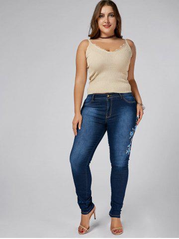 Fashion High Waist Plus Size Flower Embroidered Skinny Jeans - 3XL DENIM BLUE Mobile