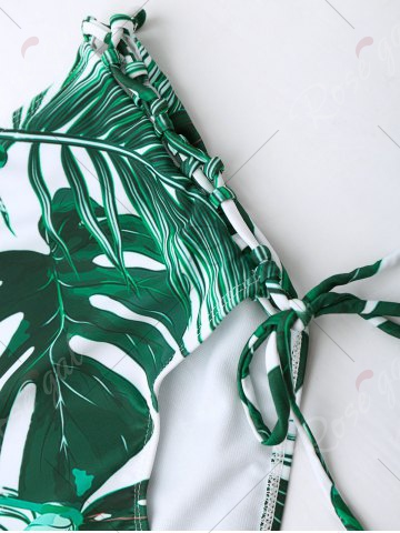 Online Tropical Leaf Print High Waist Bikini Set - M COLORMIX Mobile