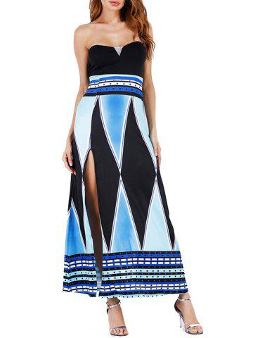 New High Slit Color Block Strapless Maxi Dress - 2XL BLUE Mobile