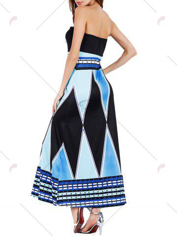 Outfit High Slit Color Block Strapless Maxi Dress - 2XL BLUE Mobile