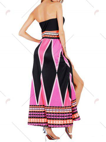 Chic High Slit Color Block Strapless Maxi Dress - S LIGHT ROSE Mobile