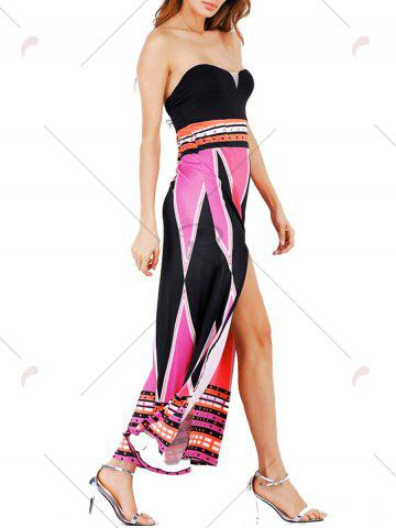 Hot High Slit Color Block Strapless Maxi Dress - S LIGHT ROSE Mobile