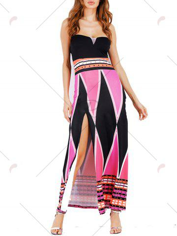 Buy High Slit Color Block Strapless Maxi Dress - S LIGHT ROSE Mobile
