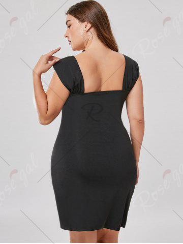 Affordable Plus Size Rhinestone Detail Fitted Dress - XL BLACK Mobile