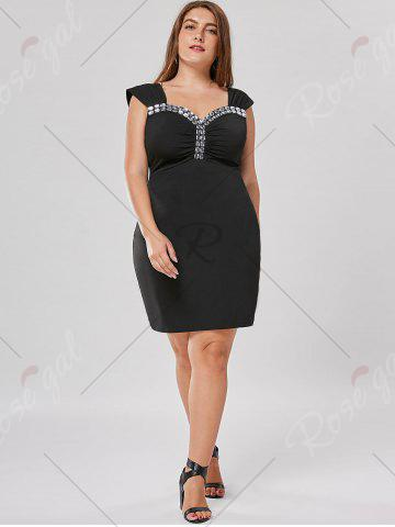 New Plus Size Rhinestone Detail Fitted Dress - XL BLACK Mobile