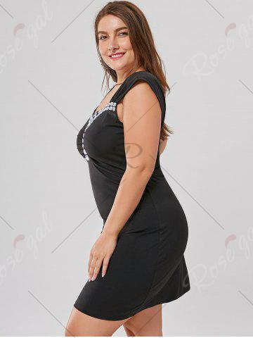 Latest Plus Size Rhinestone Detail Fitted Dress - XL BLACK Mobile