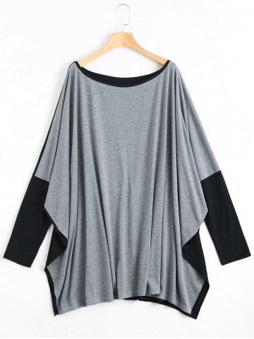 New Color Block Plus Size Long Sleeve Poncho T-shirt