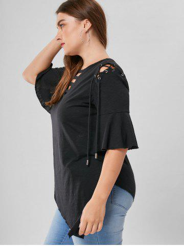 Sale Plus Size Lace Up Flare Sleeve Top - XL BLACK Mobile