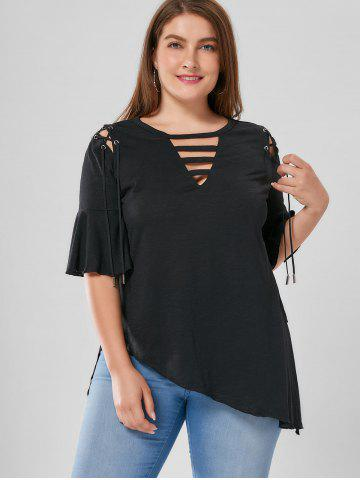Fashion Plus Size Lace Up Flare Sleeve Top - XL BLACK Mobile