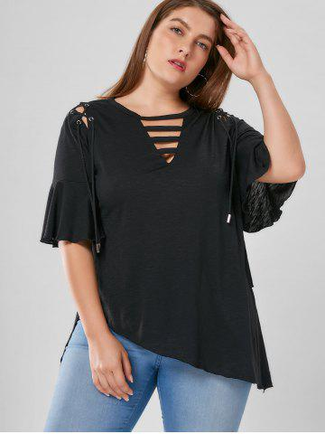 Cheap Plus Size Lace Up Flare Sleeve Top - XL BLACK Mobile