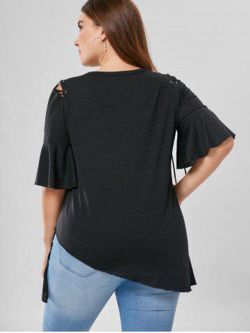 Chic Plus Size Lace Up Flare Sleeve Top - XL BLACK Mobile
