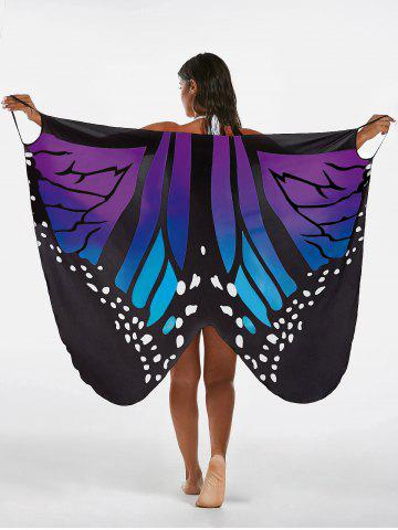 Latest Butterfly Beach Wrap Cover Up Dress BLUE + PURPLE XL
