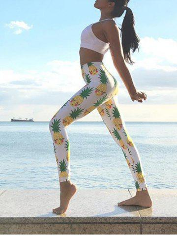 Fashion Pineapple Print Fitted Yoga Pants - L WHITE Mobile