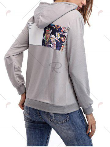 Shops Cartoon Patch Drawstring Graphic Hoodie - S LIGHT GRAY Mobile