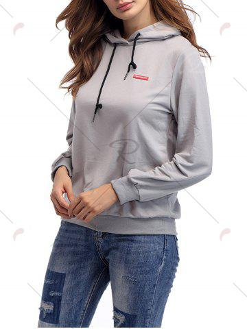Best Cartoon Patch Drawstring Graphic Hoodie - S LIGHT GRAY Mobile