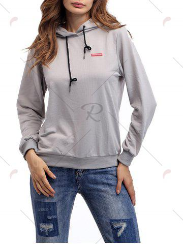 Fancy Cartoon Patch Drawstring Graphic Hoodie - S LIGHT GRAY Mobile