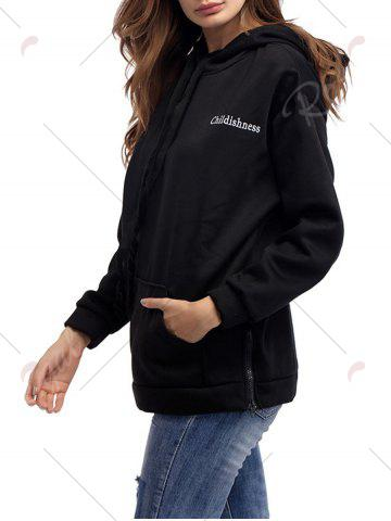 Latest Letter Embroidery Drawstring Graphic Hoodie - ONE SIZE BLACK Mobile