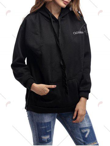 Chic Letter Embroidery Drawstring Graphic Hoodie - ONE SIZE BLACK Mobile