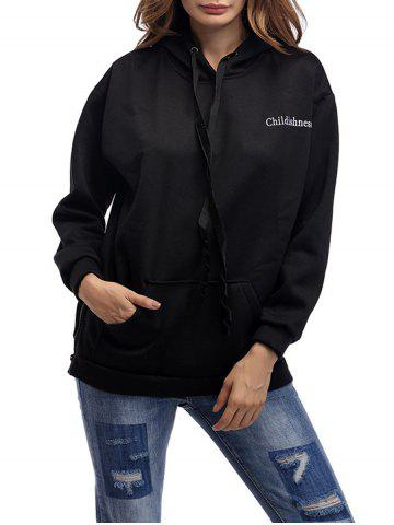 Outfit Letter Embroidery Drawstring Graphic Hoodie - ONE SIZE BLACK Mobile