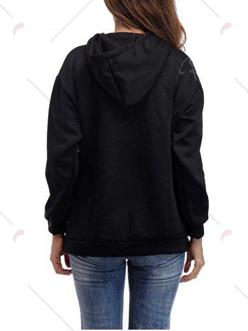 Buy Letter Embroidery Drawstring Graphic Hoodie - ONE SIZE BLACK Mobile