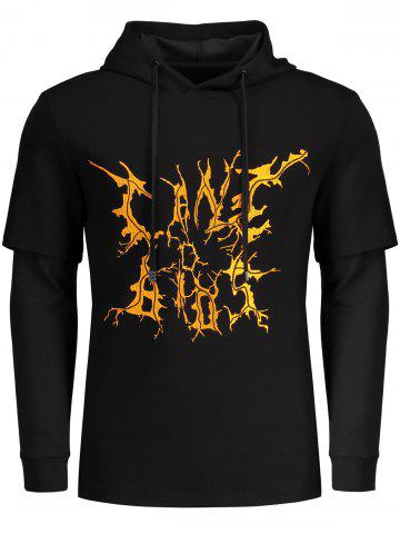 Drawstring Double Sleeve Printed Hoodie - Black - 2xl