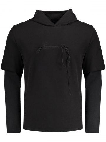 Double-sleeve Embroidery Tassels Hoodie - Black - 2xl
