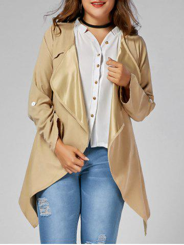 Plus Size Open Front Asymmetric Coat - Camel - 4xl
