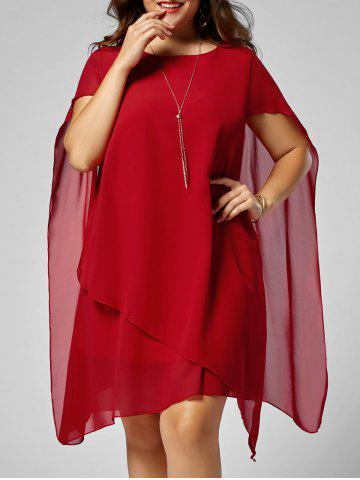 New Asymmetric Chiffon Plus Size Cape Swing Shift Dress - 5XL RED Mobile