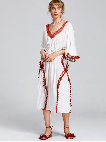 Online Lace Trim Tassels Belted Maxi Dress