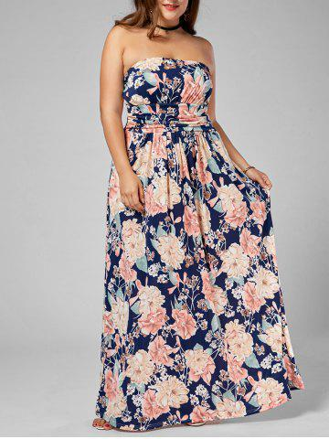 Affordable Long Floral Plus Size Strapless Dress MULTI 3XL