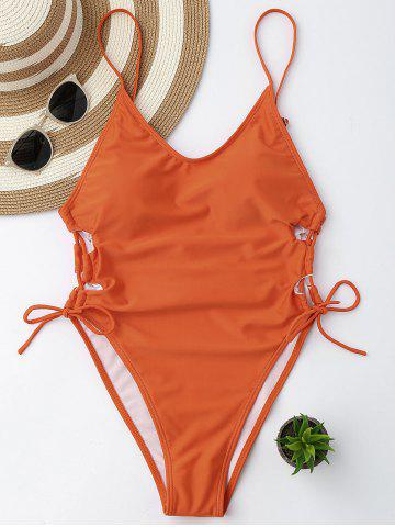 Fancy High Cut Backless Lace Up Swimsuit