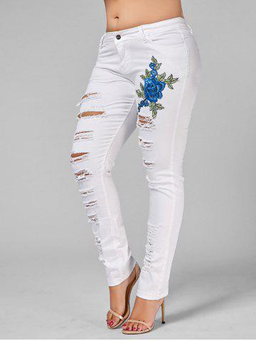 Discount Plus Size Ripped Embroidered Skinny Jeans