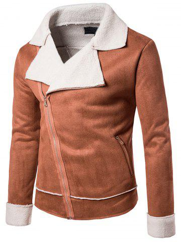 Faux Shearling Jacket with Asymmetric Zip