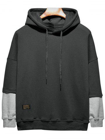 Unique Plus Size Hooded Color Block Panel Raglan Sleeve Hoodie