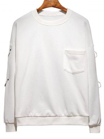 Chic Raglan Sleeve Metallic Loop Embellished Plus Size Sweatshirt