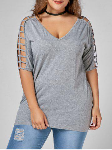 New V Neck Cut Out Plus Size Tunic Tee