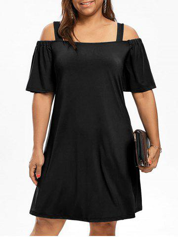 Chic Cold Shoulder Half Sleeve Plus Size Dress
